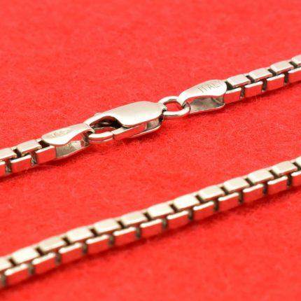 Srebrny łańcuszek kostka rodowana