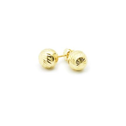 Złote kolczyki kulki diamentowane – 8 mm