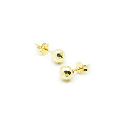 Złote kolczyki kulki diamentowane – 5 mm
