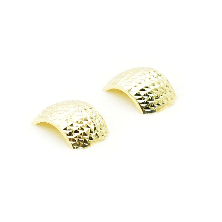 Złote kolczyki zdobione na diamenciarce.
