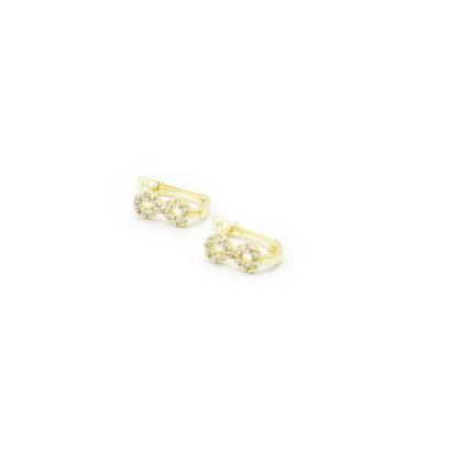 Złote kolczyki z cyrkoniami – znak nieskończoności