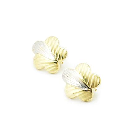 Złote kolczyki kwiatki – angielskie zapięcie