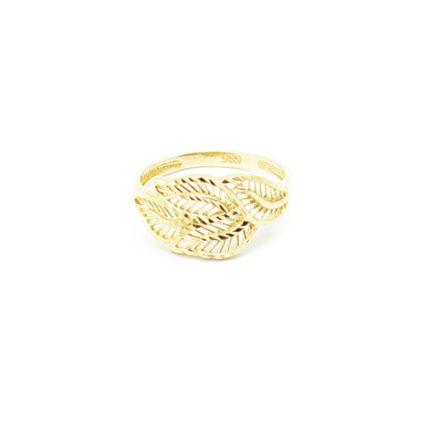 Złoty pierścionek ażurowy – listki