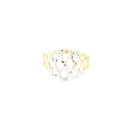 Złoty pierścionek ażurowy – nieskończoność