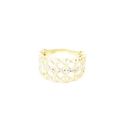 Złoty pierścionek ażurowy – kratka
