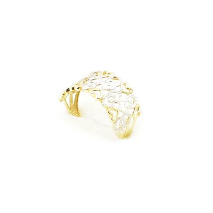 Złoty pierścionek ażurowy – serduszka