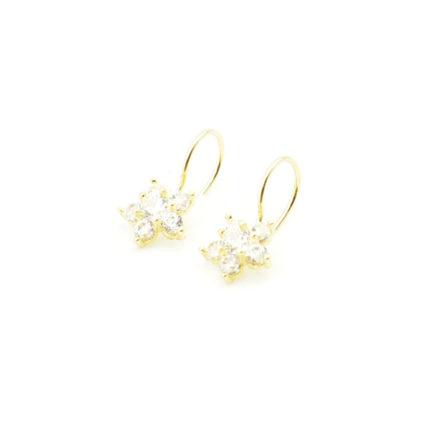Złote kolczyki z cyrkoniami – kwiatki