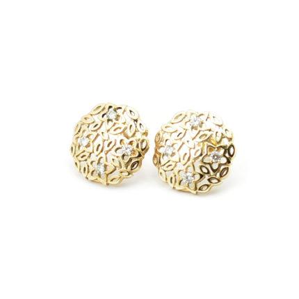 Złote kolczyki z cyrkoniami – kwiatki ażurowe
