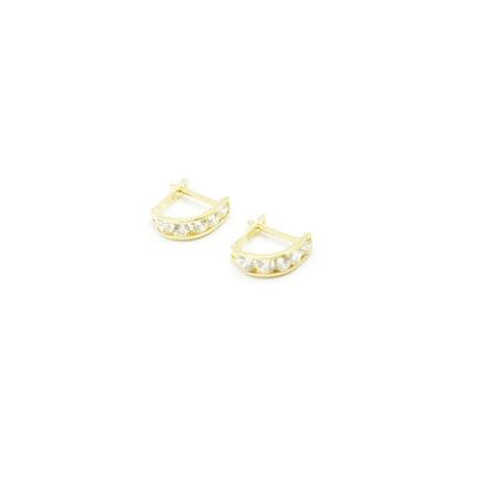 Złote kolczyki z cyrkoniami – przecinki