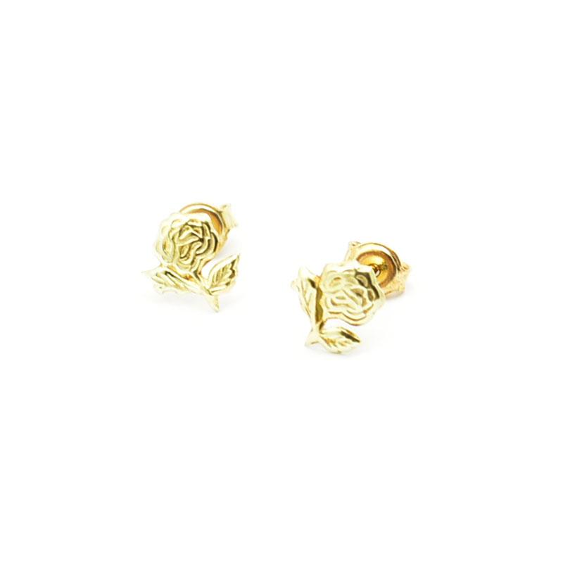 Złote kolczyki różyczki.
