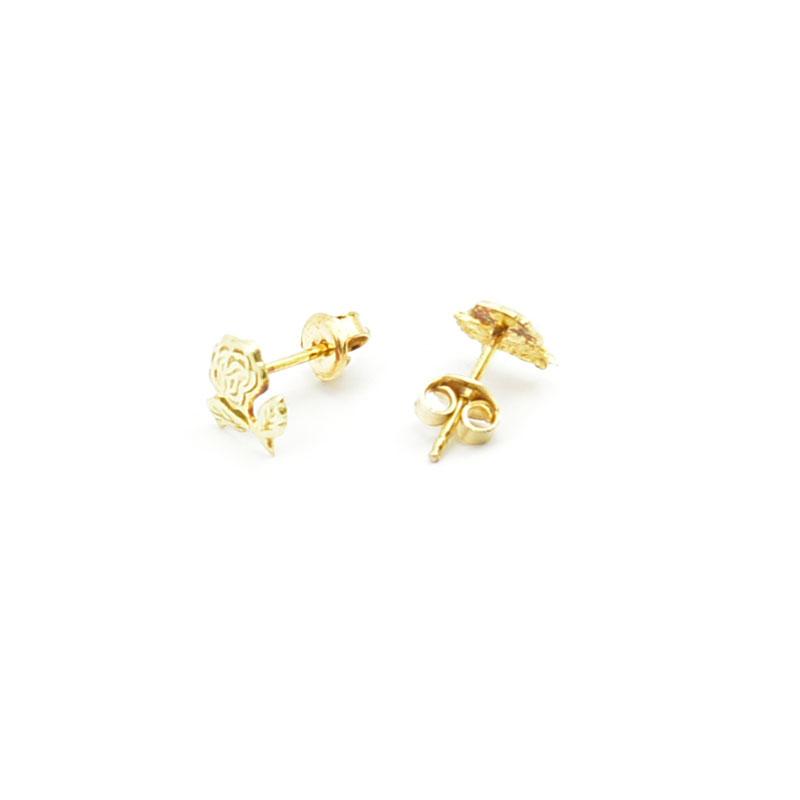 Kolczyki różyczki z żółtego złota