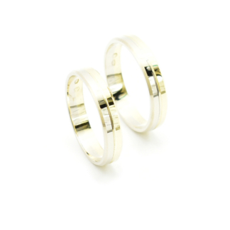 Obrączki złote dwukolorowe płaskie fasetowane
