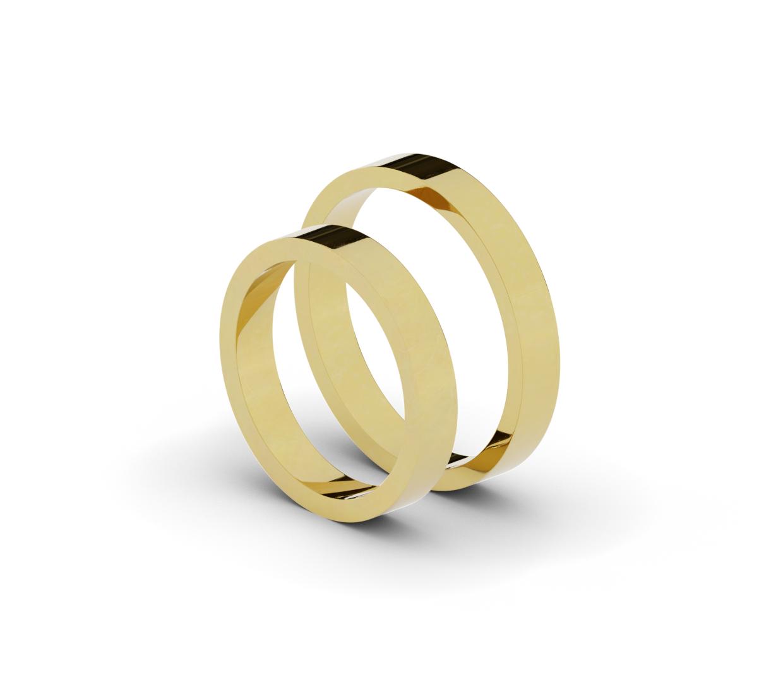 Płaskie obrączki ślubne o szerokości 3,5 mm