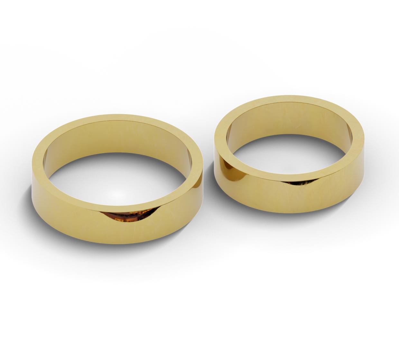 Klasyczne, płaskie obrączki ślubne o szerokości 5,5 mm.