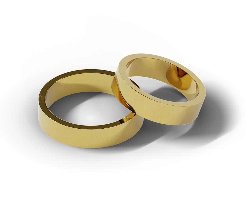 Para klasycznych obrączek ślubnych o szerokości 5 mm.