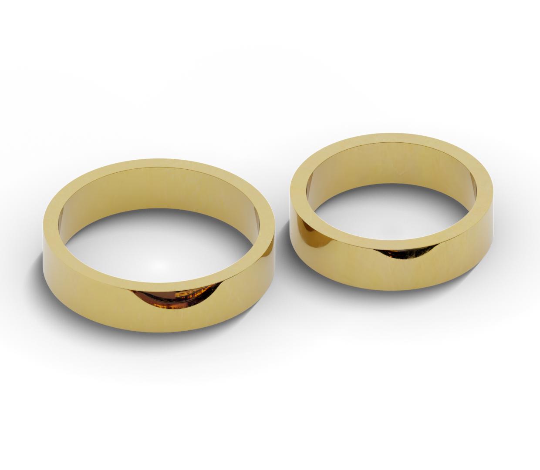 Płaskie obrączki ślubne ze złota próby 585.