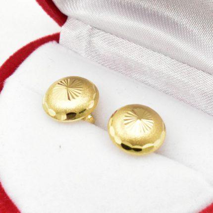 Złote kolczyki – półkulki 10mm – fasetowane