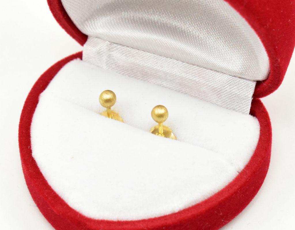 Złote kolczyki kulki 3mm – matowe