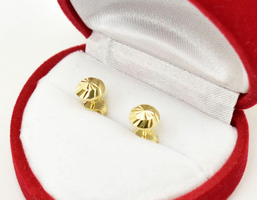 Złote kolczyki – dyski – 0,99g