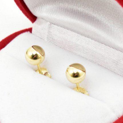 Złote klczyki – kulki 6mm – gładkie