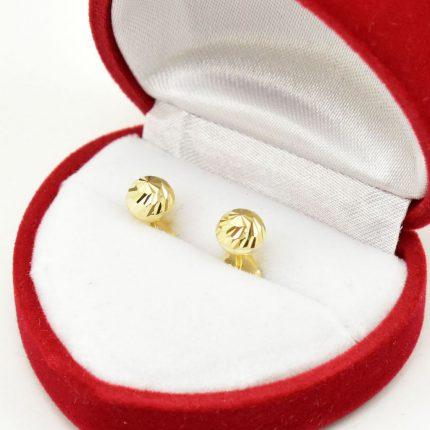 Złote kolczyki – kulki – 6mm- fasetowane