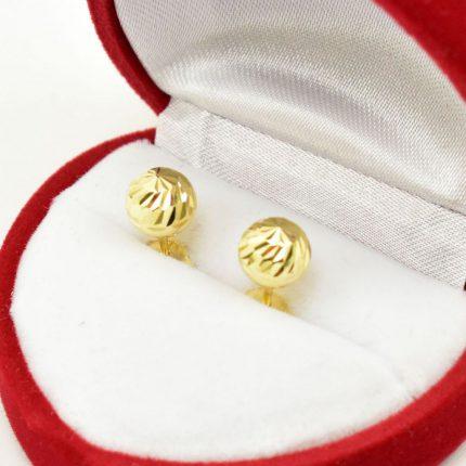 Złote kolczyki kulki – 7mm zdobione