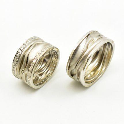 Obrączki ślubne białe złoto krępowane