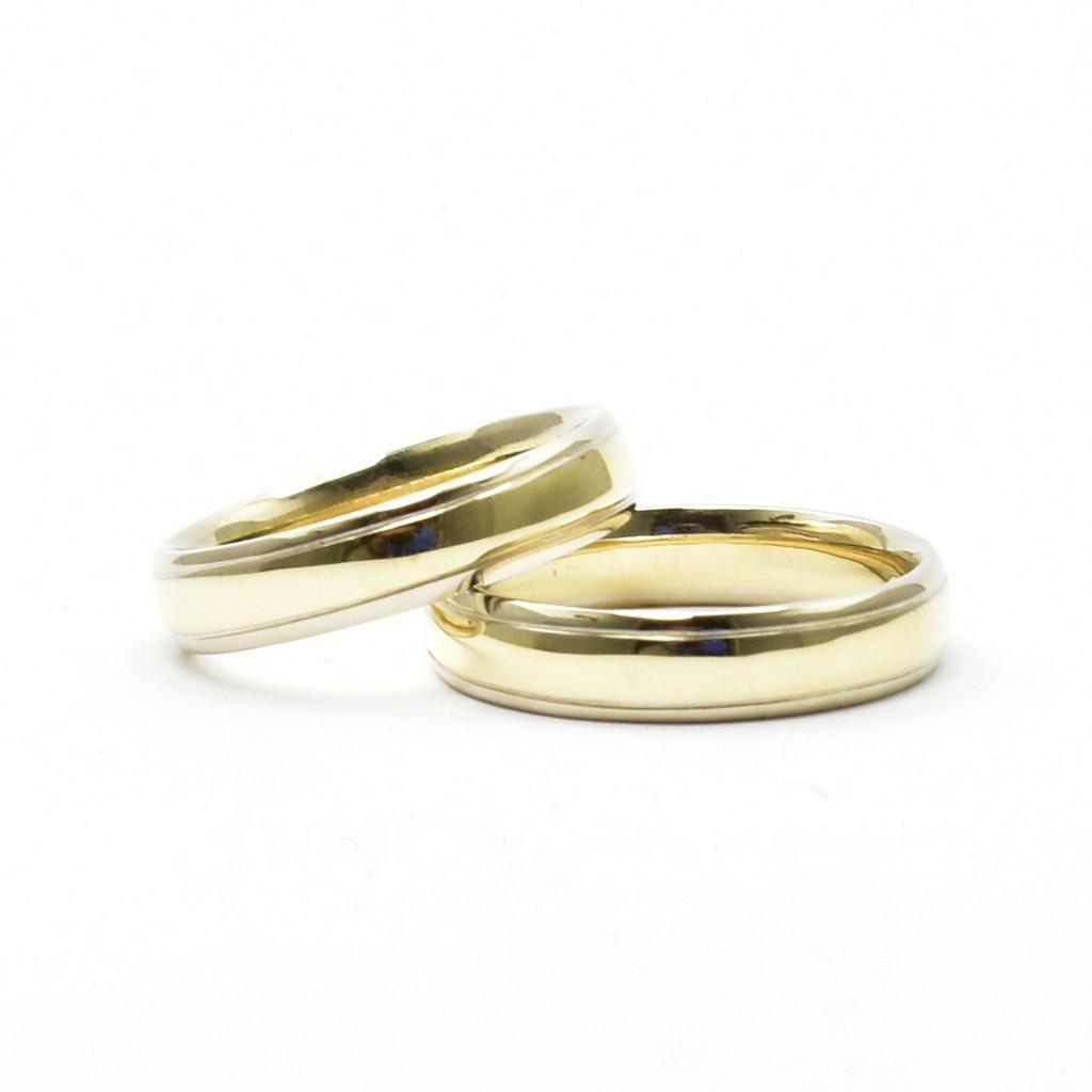 185e5b24bf5eaa Obrączki łączone z dwóch kolorów złota, klasyczne, półokrągłe ...
