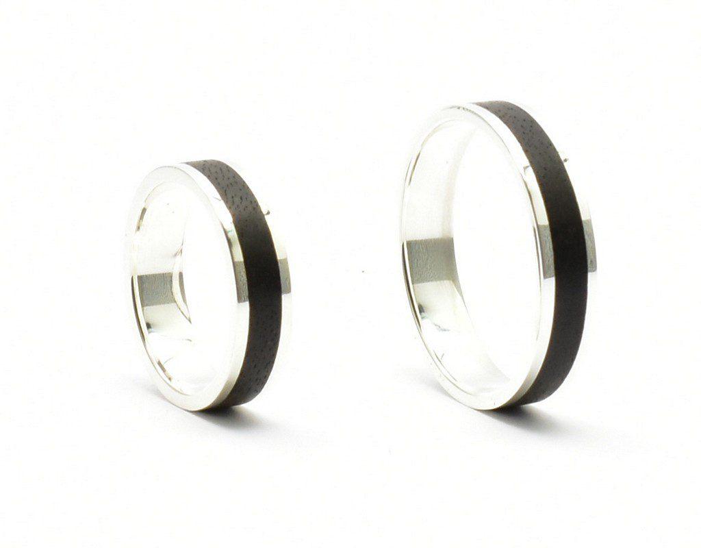 Srebro i heban – obrączki ślubne – 5 mm – płaskie