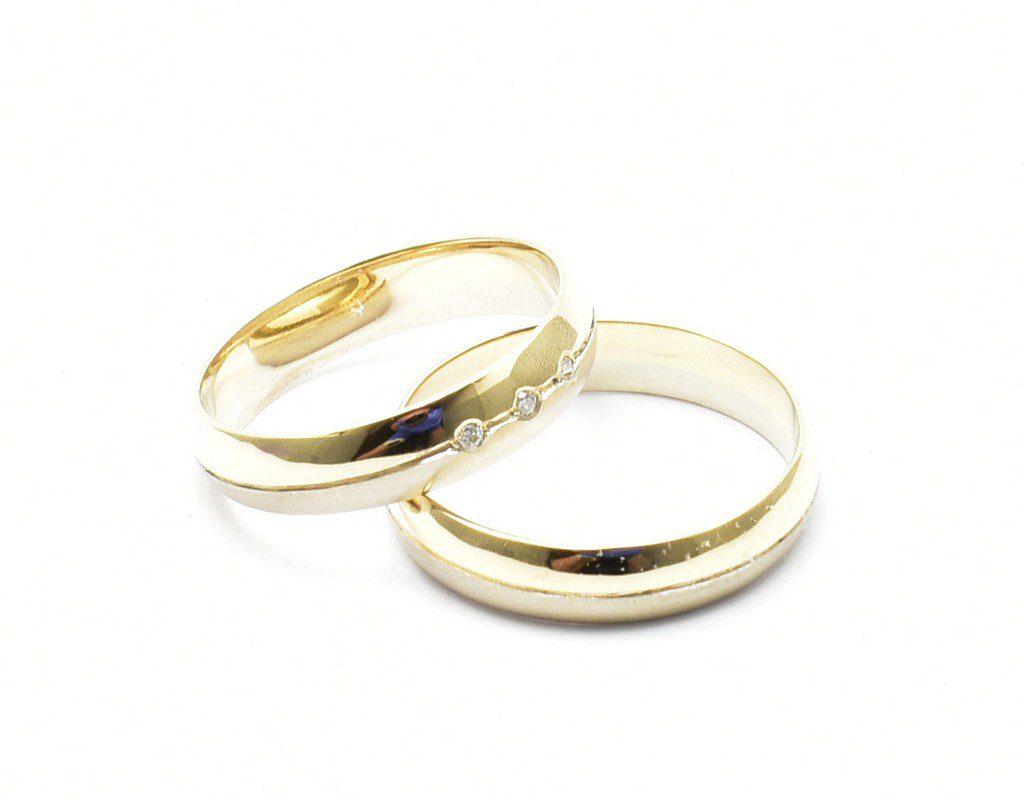 Obrączki ślubne z białego i żółtego złota