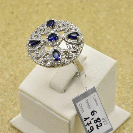 Sebrny pierścionek z cyrkoniami i szafirami pr.925