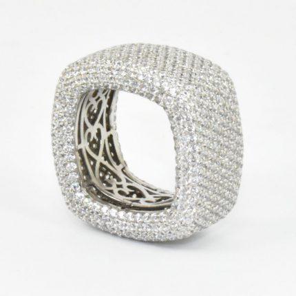 Sebrny pierścionek cały w cyrkoniach srebro 925