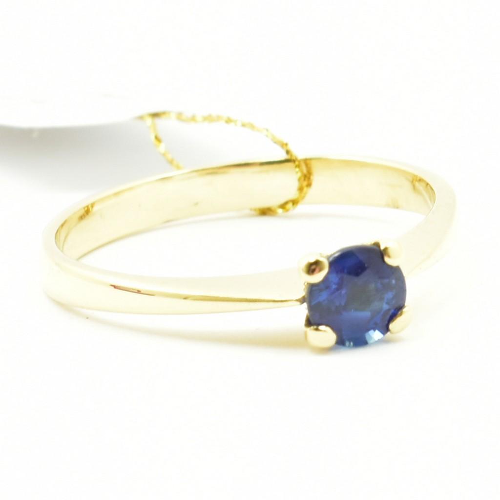 Genialny Złoty pierścionek zaręczynowy z naturalnym szafirem. - Zakład ID22