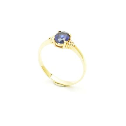 Złoty pierścionek z szafirem 1,08 ct i 6 brylantami