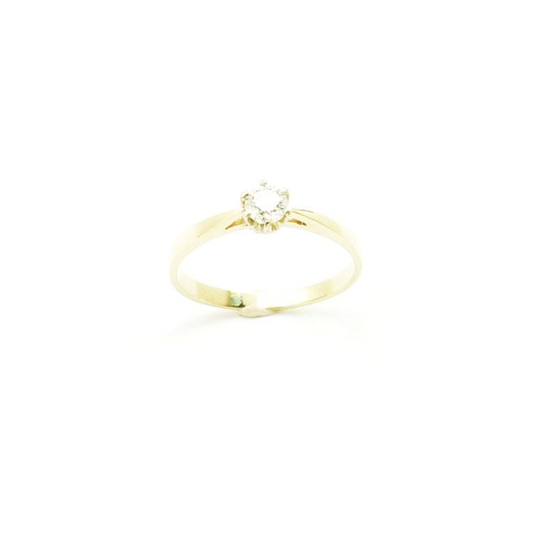Złoty pierścionek zaręczynowy z diamentem ćwiartką