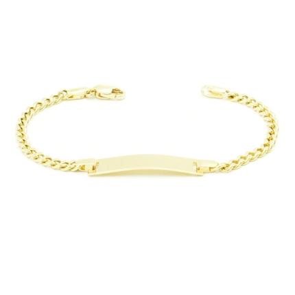 Złota bransoletka z blaszką do grawerowania – 14 cm pancerka