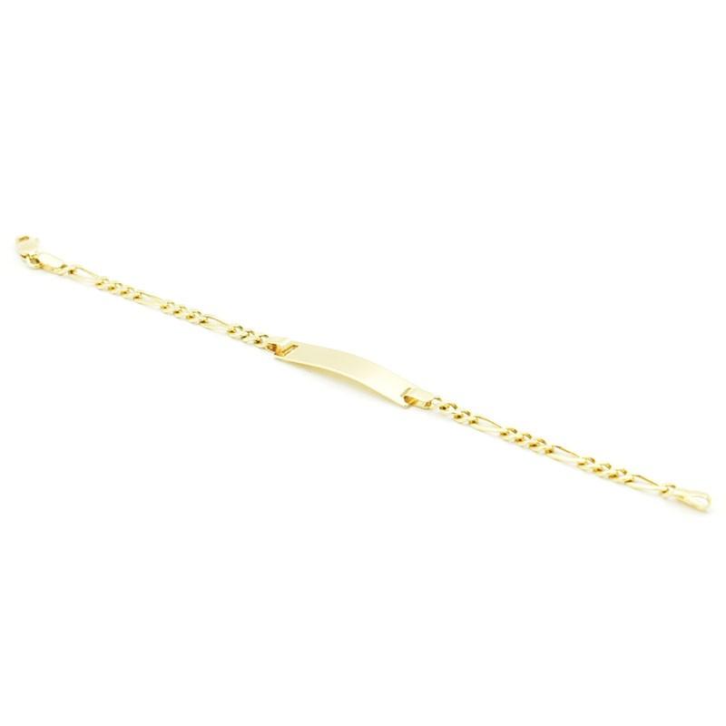 Złota bransoletka figaro z blaszką