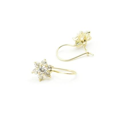 Złote kolczyki karmazycje z cyrkoniami – kwiatki