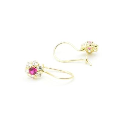 Złote kolczyki z rubinami i cyrkoniami – kwiatki