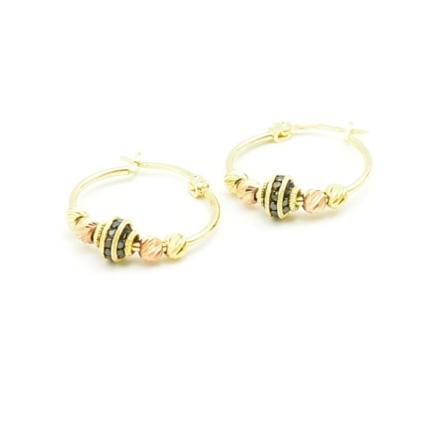 Złote kolczyki z diamentowanymi kulkami i czarnymi cyrkoniami