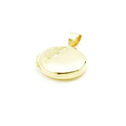 Złote serduszko puzderko- sekretnik okrągły z grawerem