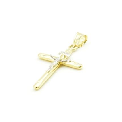 Złoty krzyżyk z pasyjką – wyrób dęty bardzo lekki – 1 g