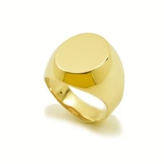 Złoty sygnet z płytką idealny do grawerowania.